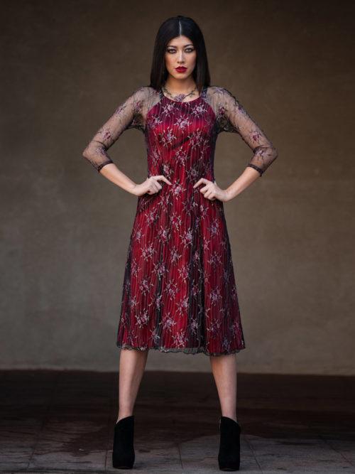 Red silk lace dress