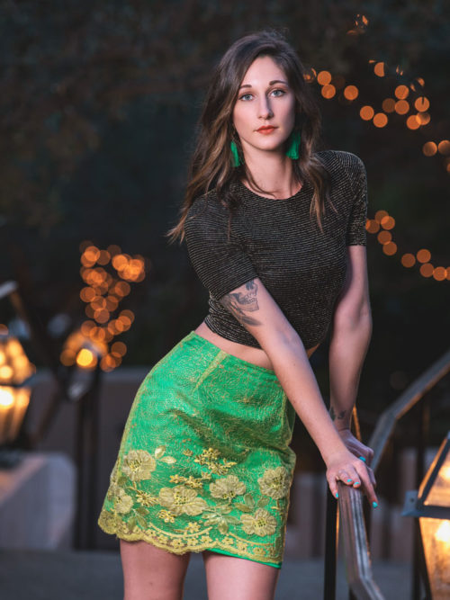 -Silk metallic crop top -Green lace skirt