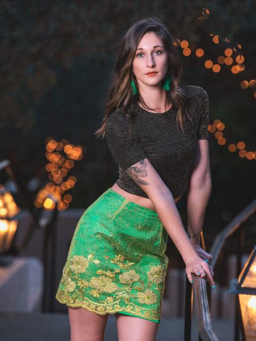 -Silk metallic crop top -Green lace skirt