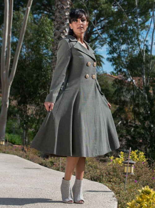 Wool fitted trench coat